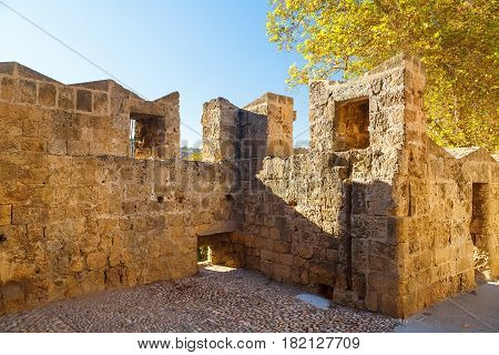 Enormous ancient walls of the Rhodes town - Greece