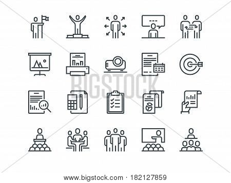 Business. Set of outline vector icons. Includes such as Business Meeting, Handshake, Agreement, One on One Meeting and other