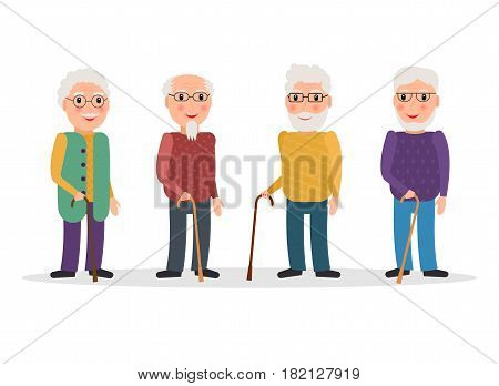 Set of old men wearing glasses and with canes in flat style. EPS10 vector collection of elderly men characters with walking sticks.