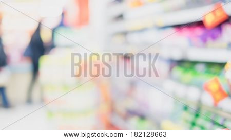 Blurred background product shelf at supermarket store
