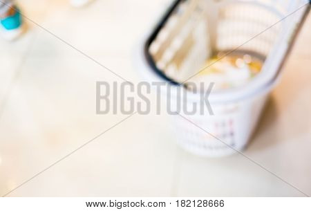 Blurred Background, Close Up Product In Shopping Cart At Supermarket