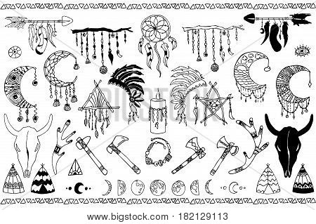 Hand drawn doodles boho, tribal design elements with dreamcatcher, feathers, arrows, bull, deer, skull, antler, moon. Native vector sketched set
