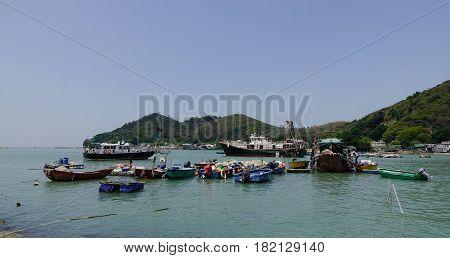 Fishing Boats On The Sea In Hong Kong