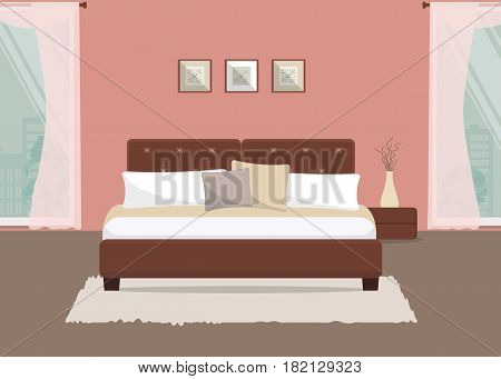 Bedroom in a pink color. There is a bed with pillows, bedside table, a vase with decorative branches on a window background in the picture. Vector flat illustration.