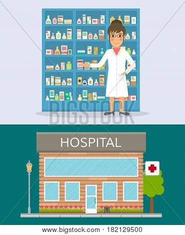 Pharmacist against shelves with medicines. Hospital building front facade icon. EPS10 vector illustration in flat style.