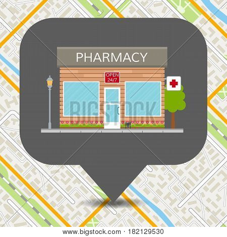Pharmary icon on map. Drugstore navigation on generic city map background. EPS10 vector illustration in flat style.