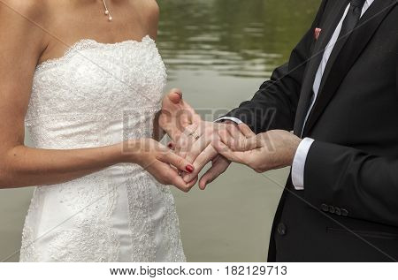 wedding couple are swearing lifetime loyality in the park in the wedding ceremony