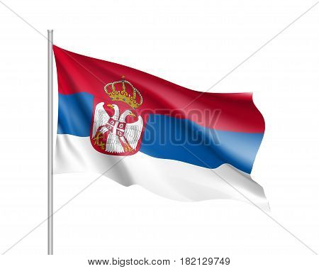 National flag of Serbia republic. Patriotic state symbol in official colors: red, blue and white. Illustration of Sounhern European country flag. Vector icon
