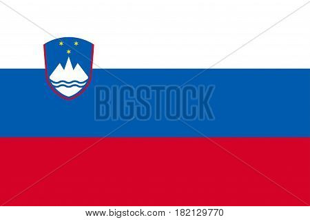 Slovenia national flag. Patriotic symbol in official country colors: white, blue and red. Illustration of Sounhern European state flag. Vector icon