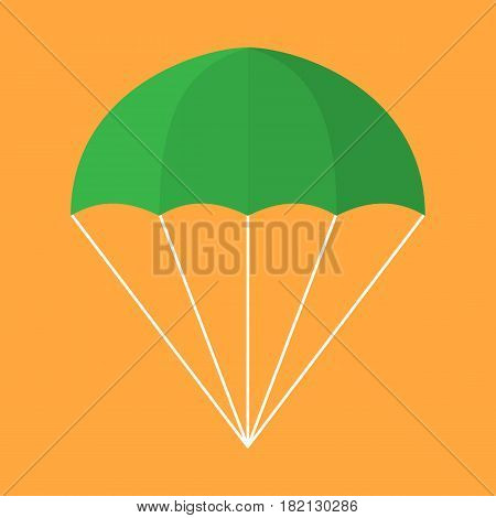 Illustration of a parachute isolated on an orange background.