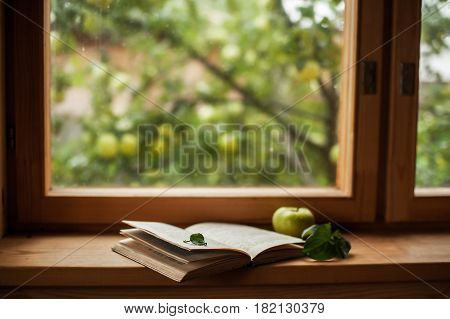 an open book lays at the window in a countryside house