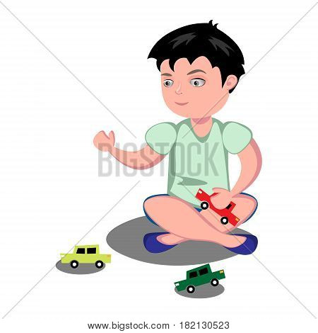 Young boy playing toy cars. Vector illustration