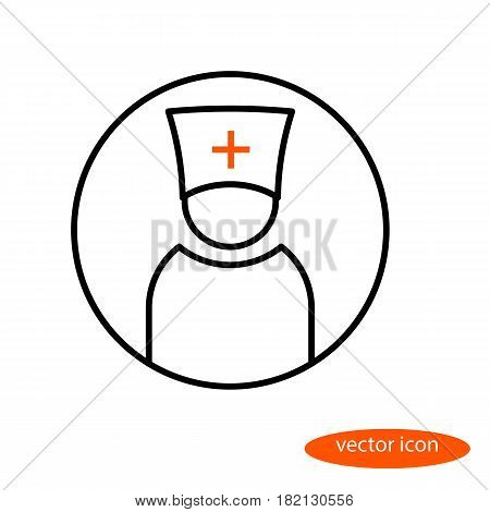 Vector linear image of a man in a headdress with a cross a doctor or a priest a flat line icon.