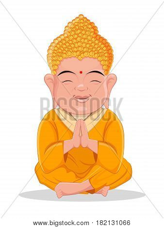 Sitting Buddha. Cute colorful cartoon character for Indian Buddhism spiritual holidays. Usable for banner greeting card print poster. Stock vector