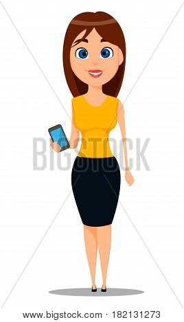 Business woman cartoon character. Young attractive businesswoman in smart casual clothes standing with smartphone - stock vector