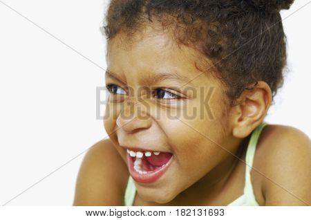 Close up of mixed race girl laughing