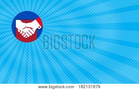 Business card showing Illustration of a hand shaking business deal set inside circle done in retro style.