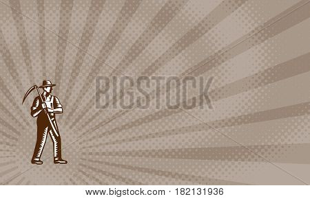 Business card showing Illustration of an organic farmer farm worker full body wearing hat holding scythe facing side set done in retro woodcut style.