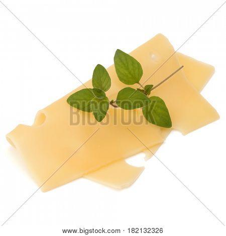 Cheese slice with oregano isolated on white background