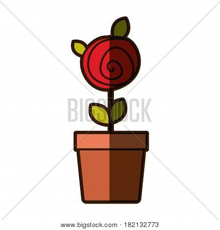 colorful shading drawing red rose with leaves and stem in flowerpot vector illustration