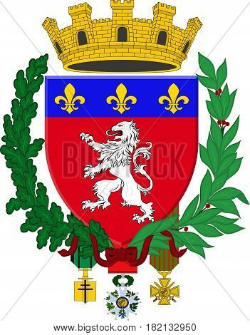 Coat of arms of Lyon or Lyons is a city in east-central France in the Auvergne-Rhone-Alpes region. Vector illustration