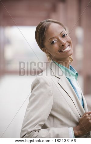 Close up of African businesswoman smiling