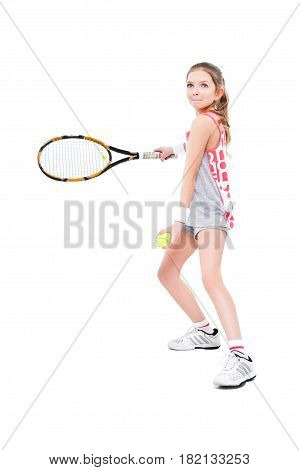 ttractive girl tennis player standing isolated on white background