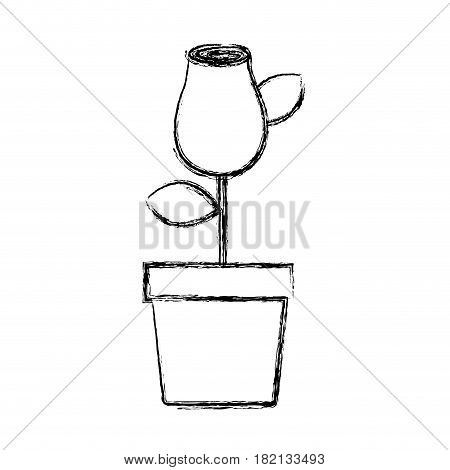 blurred silhouette drawing rosebud with leaves and stem in flowerpot vector illustration