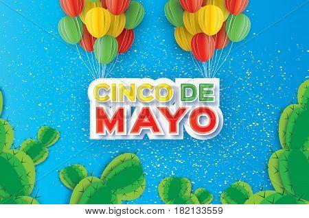 Happy Cinco de Mayo Greeting card. Paper cut bunch of Ballon. Cactus.Mexico, Carnival. Text. Vector illustration