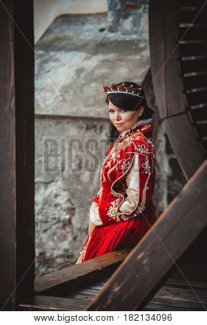 Queen in a medieval castle