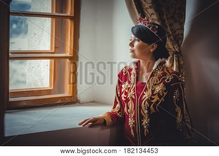 Portrait of Queen in a medieval castle
