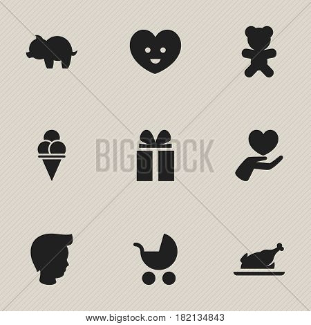 Set Of 9 Editable Family Icons. Includes Symbols Such As Gift, Boy, Perambulator And More. Can Be Used For Web, Mobile, UI And Infographic Design.