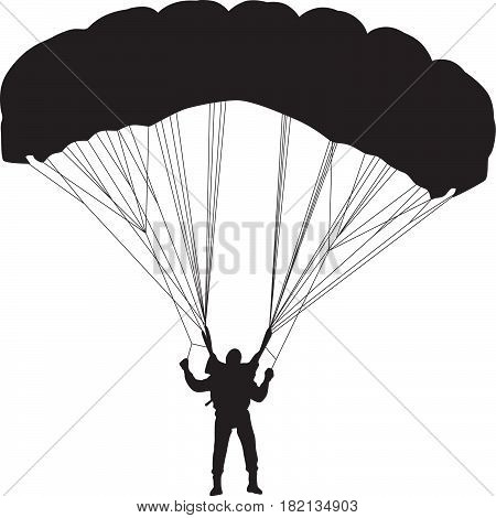 parachutist with an open parachute silhouette vector