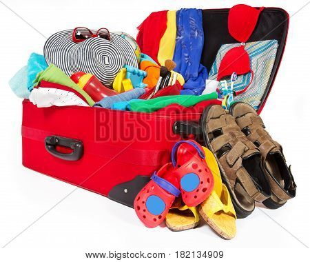 Suitcase Open Packed Travel Luggage Family Bag Full of Clothes Baggage for Vacation