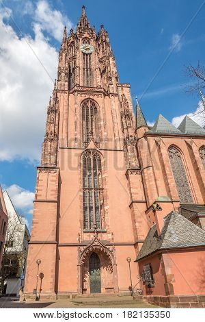 Bell tower of Cathedral Saint Bartholomew in Frankfurt am Main