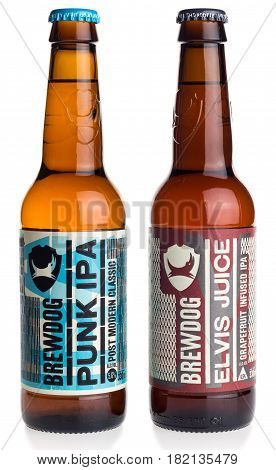 GRONINGEN, NETHERLANDS - APRIL 15, 2017: Bottles of Scottish Brewdog Punk IPA and Elvis Juice beer isolated on a white background