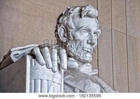 Abraham Lincoln Statue At Washington Dc Memorial Detail