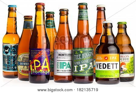 GRONINGEN, NETHERLANDS - APRIL 15, 2017: Collection of Brewdog, Groningen, Kona, Freeride, Anchor, Flying Dutchman, Monteiths, Vedett and La Chouffe Indian Pale Ale beers isolated on a white background