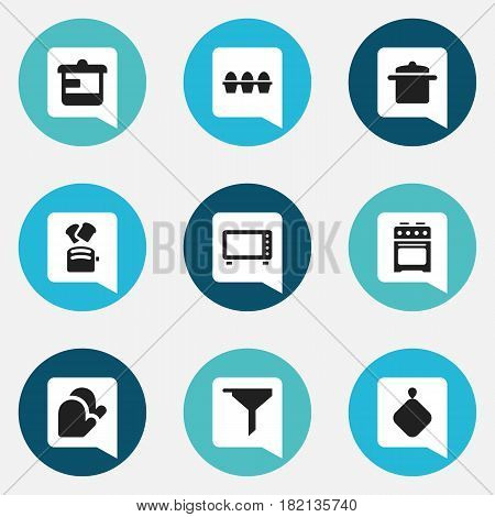 Set Of 9 Editable Meal Icons. Includes Symbols Such As Stove, Kitchen Glove, Egg Carton And More. Can Be Used For Web, Mobile, UI And Infographic Design.