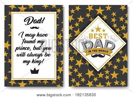Father happy birthday card set, Best Dad in the world for greeting card or festive poster, banner for dear pap with gold stars background, vector template illustration