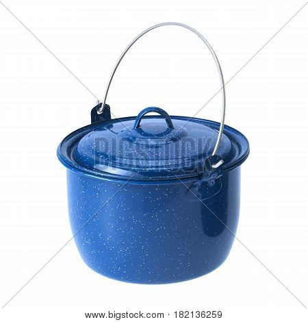 Blue Enameled Convex Kettle Isolated On White Background. Cooking Pots. Cooking Pan. Enamelware Fami