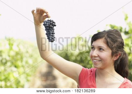 Hispanic woman holding bunch of red grapes