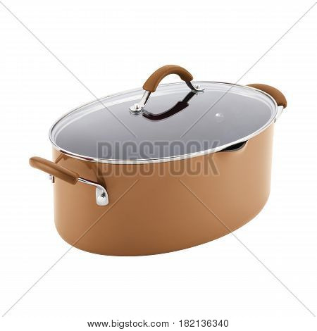Brown Oval Nonstick Stockpot With Glass Lid Isolated On White Background. Cooking Pots With Glass Li