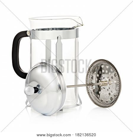 Glass French Coffee Press Isolated On White Background. Stainless Steel Coffee Maker Pot