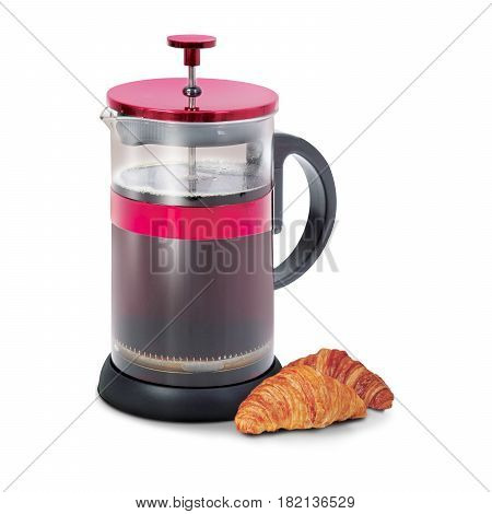 Glass French Coffee Press With Cake Isolated On White Background. Coffee Maker Pot