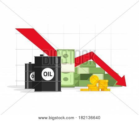 Oil, money cash and gold with down arrow graph vector illustration, concept economy crisis, low budget, price decrease, stock market financial data, negative income
