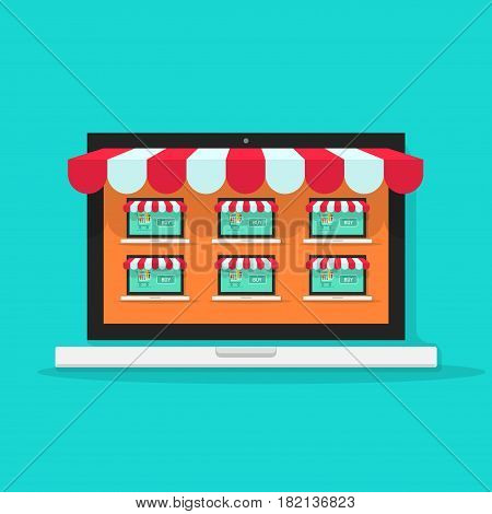 Marketplace online vector illustration, flat style internet multivendor store on laptop computer with multi vendor stores, lots of shops on screen, ecommerce technology