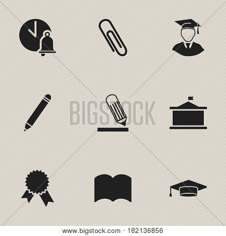 Set Of 9 Editable University Icons. Includes Symbols Such As Staple, Writing, Univercity And More. Can Be Used For Web, Mobile, UI And Infographic Design.