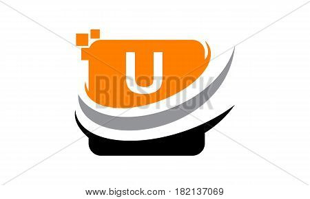 This vector describe about Logo Technology Motion Synergy Initial U