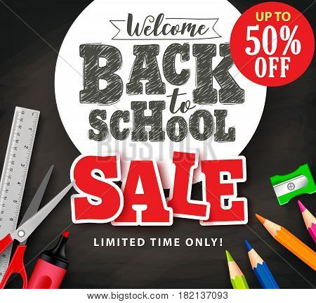Welcome back to school sale text in vector with school items and supplies for store promotion banner in black textured background. Vector illustration.